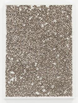 Dan Colen, The Clever Fox, 2014 Studs on canvas, 30 × 22 ½ inches (76.2 × 57.2 cm)