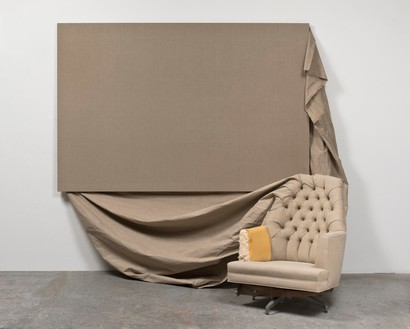 Analia Saban, Claim (from Chair), 2013 Linen on chair and canvas, 89 × 104 × 68 inches (226 × 264 × 173 cm)© Analia Saban. Courtesy the artist and Sprüth Magers. Photo: Brian Forrest