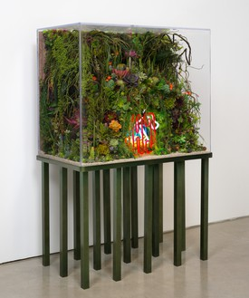 Max Hooper Schneider, The Extinction of Neon, 2015 Acrylic terrarium, modeled landscape, neon signs, plastic flora, insect matter, resin, and custom aluminium stand, 66 × 42 × 24 inches (167.6 × 106.7 × 61 cm)Photo: Jeff McLane