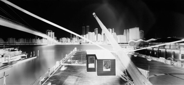 Vera Lutter, The Appropriation of Manhattan, Fulton Ferry Landing, Brooklyn IV June 16, 1996, 1996 Unique gelatin silver print, 54 ⅛ × 116 ½ inches (137.5 × 295.9 cm)