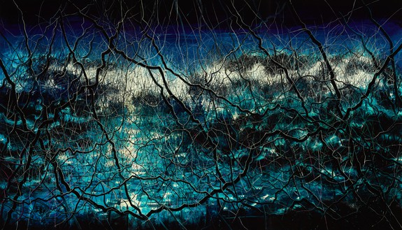 Zeng Fanzhi, Blue, 2015 Oil on canvas, 3 panels, overall: 157 ½ × 275 ⅝ inches (400 × 700 cm)© Zeng Fanzhi Studio