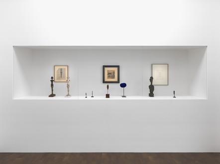 Installation view Alberto Giacometti artwork © 2016 Alberto Giacometti Estate/Licensed by VAGA and ARS, New York. Yves Klein artwork © Yves Klein, ADAGP, Paris/DACS, London, 2016. Photo: Mike Bruce