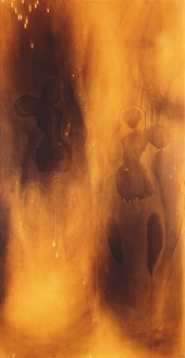 Yves Klein, Peinture de feu sans titre (F 80), 1961 Scorched cardboard on panel, 68 ⅞ × 35 ½ inches (175 × 90 cm)© Yves Klein, ADAGP, Paris/DACS, London
