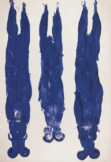 Yves Klein, Anthropométrie sans titre (ANT 89), 1961 Dry pigment and synthetic resin on paper mounted on canvas, 87 × 59 ½ inches (221 × 151 cm)© Yves Klein, ADAGP, Paris/DACS, London