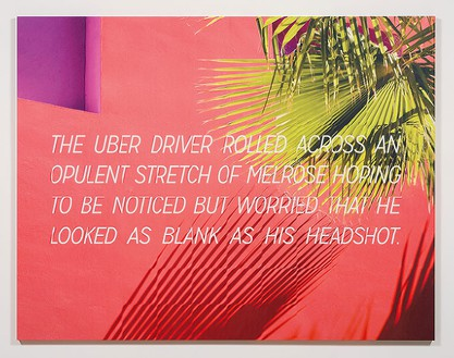 Alex Israel & Bret Easton Ellis The Uber Driver, 2016 Acrylic and UV ink on canvas 84 × 108 inches (213.4 × 274.3 cm) © Alex Israel and Bret Easton Ellis; image(s) courtesy iStock, photo by Jeff McLane