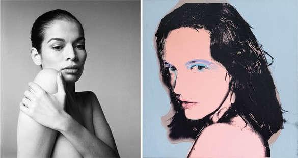 Left: Richard Avedon Bianca Jagger, actress, Hollywood, CA, January 25, 1972, 1972 Gelatin silver print 56 × 44 inches (142.2 × 111.8 cm) © The Richard Avedon Foundation Right: Andy Warhol Tina Freeman, 1975 Acrylic and silkscreen ink on linen 40 × 40 inches (101.6 × 101.6 cm) Private Collection © 2015 The Andy Warhol Foundation for the Visual Arts, Inc. / Artists Rights Society (ARS), New York