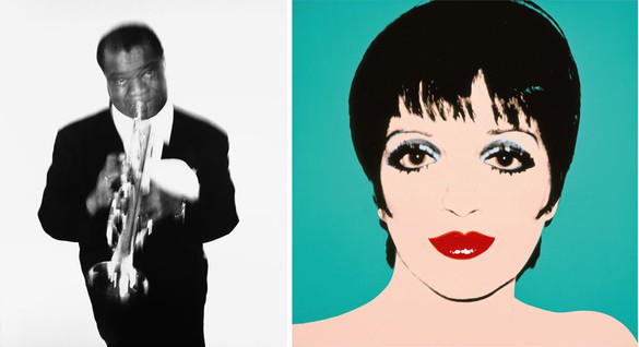 Left: Richard Avedon Louis Armstrong, musician, Newport Jazz Fesitival, Newport, Rhode Island, May 3, 1955, 1955 Gelatin silver print 52 × 44 inches (132.1 × 111.8 cm) © The Richard Avedon Foundation Right: Andy Warhol Liza Minelli, 1976 Acrylic and silkscreen ink on linen 40 × 40 inches (101.6 × 101.6 cm) The Andy Warhol Museum, Pittsburgh; Founding Collection, Contribution Dia Center for the Arts © 2015 The Andy Warhol Foundation for the Visual Arts, Inc. / Artists Rights Society (ARS), New York