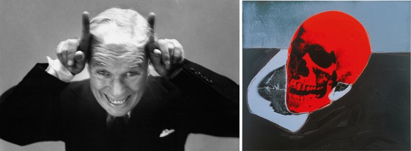 Left: Richard Avedon Charles Chaplin, Actor, New York, September 13, 1952, 1952–55 Gelatin silver print 41 × 66 inches (104.1 × 167.6 cm) © The Richard Avedon Foundation Right: Andy Warhol Skull, 1976 Acrylic and silkscreen ink on linen 72 × 80 1/8 inches (182.9 × 203.5 cm) The Andy Warhol Museum, Pittsburgh; Founding Collection, Contribution Dia Center for the Arts © 2015 The Andy Warhol Foundation for the Visual Arts, Inc. / Artists Rights Society (ARS), New York