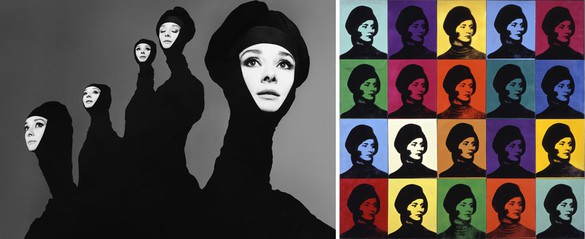 Left: Richard Avedon Audrey Hepburn, actress, New York, January 20, 1967, 1967 Gelatin silver print 13 3/4 × 11 inches (34.9 × 27.9 cm) © The Richard Avedon Foundation Right: Andy Warhol Miriam Davidson, 1965 Spray paint and silkscreen ink on canvas 80 1/4 × 80 1/2 inches (203.8 × 204.5 cm) Private collection © 2015 The Andy Warhol Foundation for the Visual Arts, Inc. / Artists Rights Society (ARS), New York