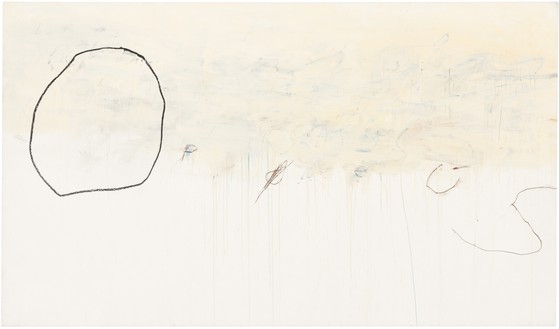 Cy Twombly, Orpheus, 1979 Oil-based house paint, [paint stick], and wax crayon on canvas, 77 × 131 ¾ inches (195.7 × 334.5 cm)Private Collection© Cy Twombly Foundation