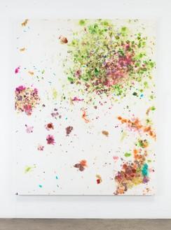 Dan Colen, Fresh Flesh, 2016 Flowers on bleached Belgian linen, 93 × 74 inches (236.2 × 188 cm)© Dan Colen