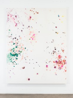 Dan Colen, Why don't we do it in the dumpster?, 2016 Flowers on bleached Belgian linen, 93 × 74 inches (236.2 × 188 cm)© Dan Colen