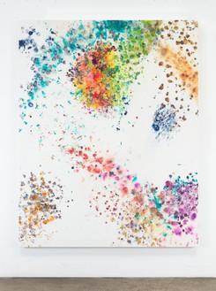 Dan Colen, Sick Sick Sick, 2016 Flowers on bleached Belgian linen, 93 × 74 inches (236.2 × 188 cm)© Dan Colen