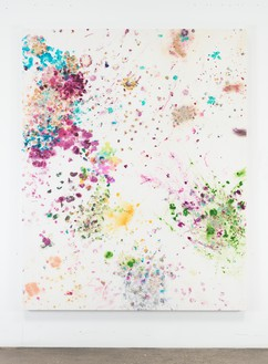 Dan Colen, Paralysed, 2016 Flowers on bleached Belgian linen, 93 × 74 inches (236.2 × 188 cm)© Dan Colen
