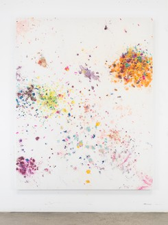 Dan Colen, Political Crap, 2016 Flowers on bleached Belgian linen, 93 × 74 inches (236.2 × 188 cm)© Dan Colen