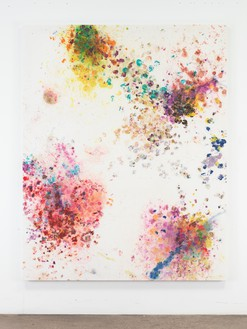 Dan Colen, Lets have a war, 2016 Flowers on bleached Belgian linen, 93 × 74 inches (236.2 × 188 cm)© Dan Colen