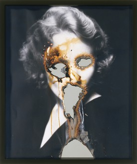 Douglas Gordon, Self Portrait of You + Me (Marlene), 2008 Burnt photographic print, smoke, wax, and mirror, framed: 24 ⅞ × 20 ⅞ inches (63.1 × 53 cm)© Studio lost but found/Douglas Gordon/VG Bild-Kunst, Bonn, 2016