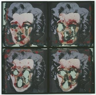 Douglas Gordon, Self Portrait of You + Me (4 piece Marilyn wax), 2008 Burnt photographic print, smoke, wax, and mirror, framed: 52 × 52 inches (132 × 132 cm)© Studio lost but found/Douglas Gordon/VG Bild-Kunst, Bonn, 2016