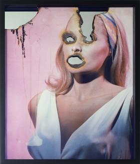 Douglas Gordon, Self Portrait of You + Me (Ursula Andress), 2008 Burnt photographic print, smoke, wax, and mirror, framed: 24 ⅞ × 20 ⅞ inches (63.1 × 53 cm)© Studio lost but found/Douglas Gordon/VG Bild-Kunst, Bonn, 2016
