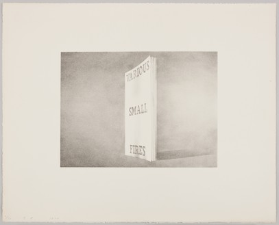 Ed Ruscha, Various Small Fires, 1970 Lithograph on white Arches paper, 16 × 20 inches (40.6 × 50.8 cm), edition of 30© Ed Ruscha