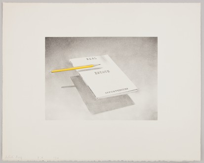 Ed Ruscha, Real Estate Opportunities, 1970 Lithograph on white Arches paper, 16 × 20 inches (40.6 × 50.8 cm), edition of 30© Ed Ruscha