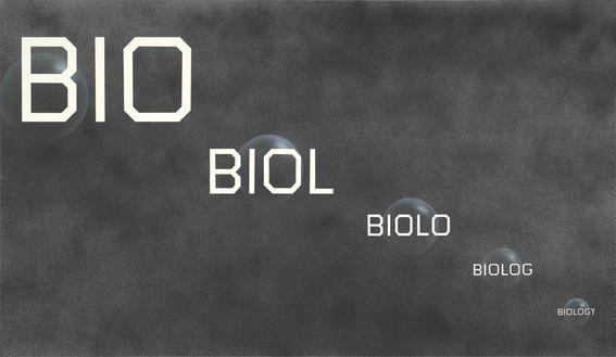 Ed Ruscha, Bio Biology, 2016 Acrylic on canvas, 72 × 124 inches (182.9 × 315 cm)© Ed Ruscha
