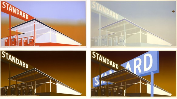 Ed Ruscha, clockwise from top left: Standard Station, 1966; Cheese Mold Standard with Olive, 1969; with Mason Williams, Double Standard, 1969; and Mocha Standard, 1969 Screenprints on paper; clockwise from top left: 25 ⅝ × 40 inches (65.1 × 101.6 cm), 25 ¾ × 40 ⅛ inches (65.4 × 101.9 cm), 25 ¾ × 40 inches (65.4 × 101.6 cm), and 24 ⅞ × 40 inches (63.2 × 101.6 cm); edition of 50, 150, 40, and 100© Ed Ruscha