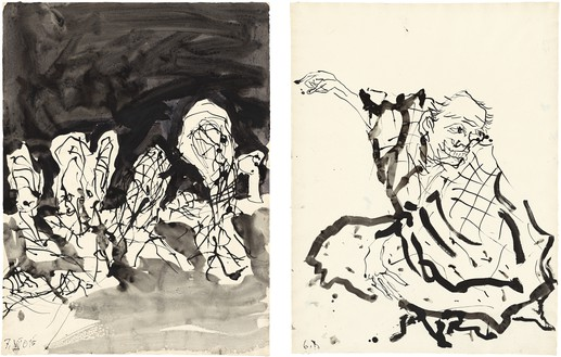 Georg Baselitz, Untitled, 2015 Ink pen and india ink on paper, in 2 parts; overall, framed: 34 ⅛ × 49 ⅝ inches (86.6 × 126.2 cm)© Georg Baselitz 2015. Photo: Jochen Littkemann, Berlin