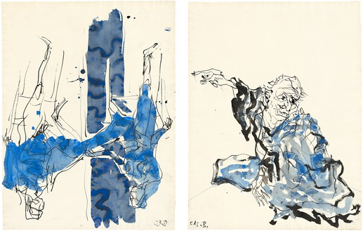 Georg Baselitz, Untitled, 2015 Ink pen, watercolor on paper, and india ink on paper, in 2 parts; overall, framed: 34 ⅛ × 49 ⅝ inches (86.6 × 126.2 cm)© Georg Baselitz 2015. Photo: Jochen Littkemann, Berlin