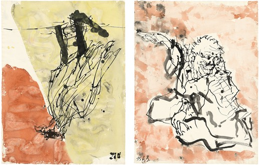 Georg Baselitz, Untitled, 2015 Ink pen and watercolor on paper, in 2 parts; overall, framed: 34 ⅛ × 49 ⅝ inches (86.6 × 126.2 cm)© Georg Baselitz 2015. Photo: Jochen Littkemann, Berlin