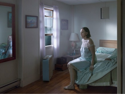 Gregory Crewdson, Seated Woman on Bed, 2013 Digital pigment print, Image size: 37 ½ × 50 inches (95.3 × 127 cm), edition of 3 + 2 APs© Gregory Crewdson