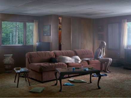 Gregory Crewdson, The Den, 2013 Digital pigment print, Image size: 37 ½ × 50 inches (95.3 × 127 cm), edition of 3 + 2 APs© Gregory Crewdson
