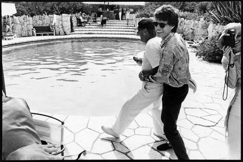 Jean Pigozzi, Helmut Newton and Mick Jagger, Villa Dorane, Antibes, France, 1990, 1990 Archival pigment print, 20 × 24 inches unframed (50.8 × 61 cm), edition of 15 + 3 APs© Jean Pigozzi