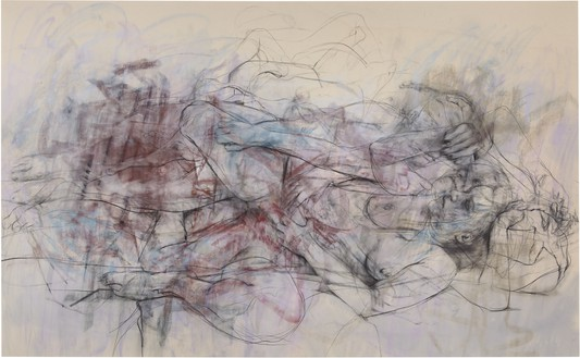 Jenny Saville, Ebb and Flow, 2015 Oil stain, pastel, and charcoal on canvas, 63 × 102 ⅜ inches (160 × 260 cm)© Jenny Saville