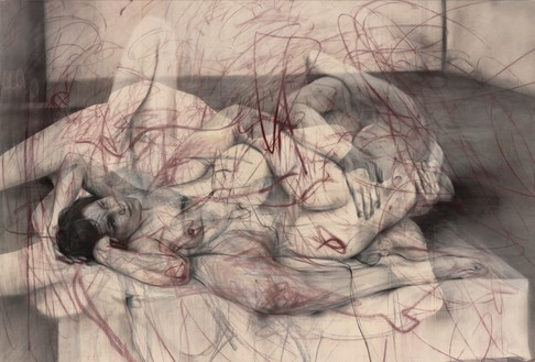 Jenny Saville, One out of two (symposium), 2016 Charcoal and pastel on canvas, 59 ⅞ × 88 ⅝ inches (152 × 225 cm)© Jenny Saville. Photo: Mike Bruce