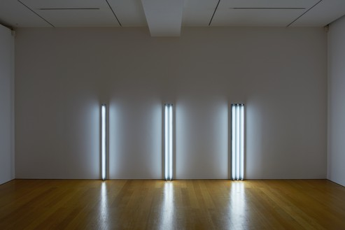 Installation view with Dan Flavin, the nominal three (to William of Ockham) (1963) Artwork © 2016 Stephen Flavin/Artists Rights Society (ARS), New York