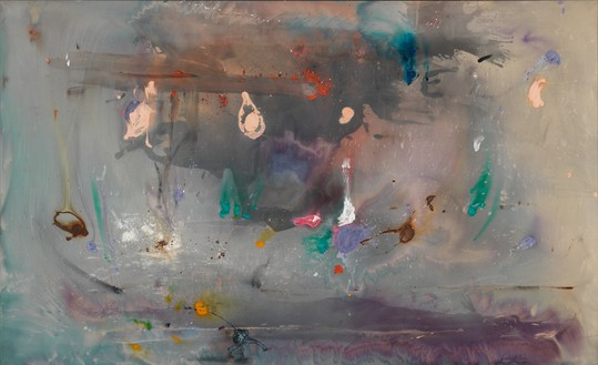 Helen Frankenthaler, Grey Fireworks, 1982 Acrylic on canvas, 72 × 118 ½ inches (182.9 × 301 cm)© 2016 Helen Frankenthaler Foundation, Inc./Artists Rights Society (ARS), New York. Photo: Rob McKeever