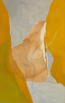 Helen Frankenthaler, Barbizon, 1971 Acrylic, marker, and crayon on canvas, 62 ¾ × 39 ½ inches (159.4 × 100.3 cm)© 2016 Helen Frankenthaler Foundation, Inc./Artists Rights Society (ARS), New York. Photo: Rob McKeever