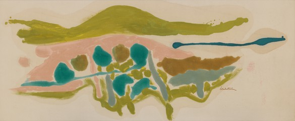 Helen Frankenthaler, Pink Field, 1962 Acrylic on canvas, 23 ¾ × 58 inches (60.3 × 147.3 cm)© 2016 Helen Frankenthaler Foundation, Inc./Artists Rights Society (ARS), New York. Photo: Rob McKeever