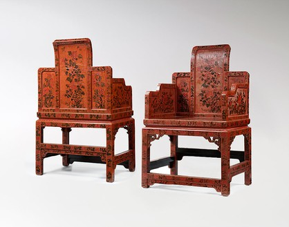 Armchairs, Qing dynasty (1644–1911)—early 18th century (detail) Qiangjin lacquer, set of 4; each, height: 43 ¼ inches (110 cm), width: 21 ¼ inches (54 cm)Provenance: Private Collection, Palm Beach, Florida; A&J Speelman; Lullin Collection, Switzerland, early 1980; Private Collection, New YorkPhoto: Frédéric Dehaen, Studio Roger Asselberghs