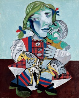 Pablo Picasso, Maya à la poupée et au cheval, 1938 Oil on canvas, 28 ¾ × 23 ⅝ inches (73 × 60 cm)© 2016 Estate of Pablo Picasso/Artists Rights Society (ARS), New York. Photo: Béatrice Hatala