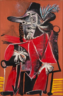 Pablo Picasso, Mousquetaire à l'épée assis, 1969 Oil on canvas, 76 ¾ × 51 ¼ inches (195 × 130 cm)© 2016 Estate of Pablo Picasso/Artists Rights Society (ARS), New York. Photo: Béatrice Hatala