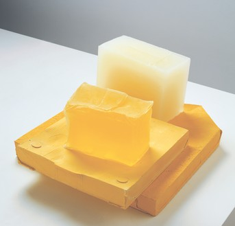 Rachel Whiteread, YELLOW EDGE, 2007–08 Plaster, pigment, and resin, in 4 parts, 7 ⅝ × 15 ¼ × 18 ½ inches (19.5 × 38.6 × 47 cm)© Rachel Whiteread. Photo: Mike Bruce