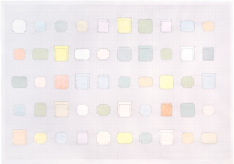 Rachel Whiteread, 50 Spaces, 2010 Gouache and pencil on graph paper, 23 ¼ × 33 ⅛ inches (59 × 84 cm)© Rachel Whiteread