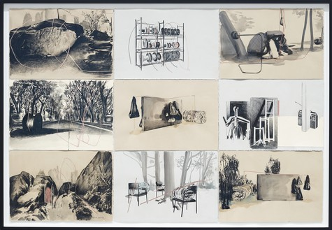 Tatiana Trouvé, Studies for Desire Lines, 2012–15 Pencil on paper, watercolor, and copper, 45 ¼ × 66 ⅞ inches (115 × 170 cm)© Tatiana Trouvé