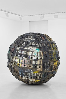 Romuald Hazoumè, Exit Ball, 2008 Plastic and metal, 82 11/16 × 82 11/16 inches (210 × 210 cm)© Romuald Hazoumè, ADAGP 2016, photo by Thomas Lannes