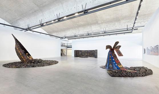 Installation view at Gagosian Gallery Le Bourget, Paris Artworks © Romuald Hazoumè, ADAGP 2016, photo by Thomas Lannes