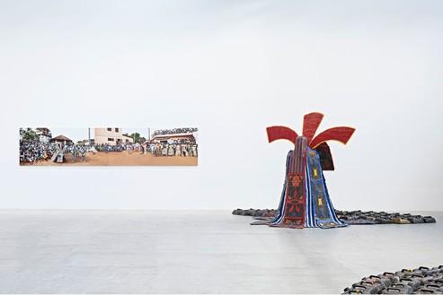 Installation view at Gagosian Gallery Le Bourget, Paris Artworks © Romuald Hazoumè, ADAGP 2016 Photo by Thomas Lannes