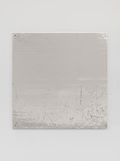 Rudolf Stingel, Untitled, 2016 Electroformed copper, plated nickel, and stainless steel frame, 47 ¼ × 47 ¼ inches (120 × 120 cm)© Rudolf Stingel. Photo: Alessandro Zambianchi