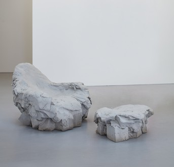 Urs Fischer, TBD, 2016 Urethane foam, wooden armature; chair: 32 × 44 × 42 inches (81.3 × 111.8 × 106.7 cm), ottoman: 13 × 24 × 23 inches (33 × 24 × 23 inches), edition of 12© Urs Fischer